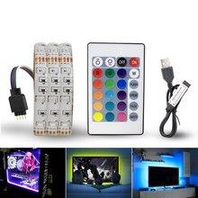 Bande de LED dalimentation USB 5 V, lumière RGB/blanc/blanc chaud, 3528 SMD, ordinateur télévisuel HDTV, rétro-éclairage de lécran du bureau, 1 M, 2 M, 3 M, 4M