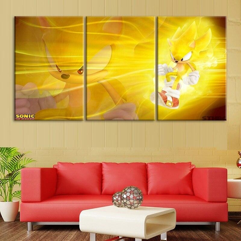 Pósteres modulares modernos impresos en HD 3 uds Sonic The Hedgehog Series vídeo de juego para pared arte lienzo cuadros pinturas decoración del hogar