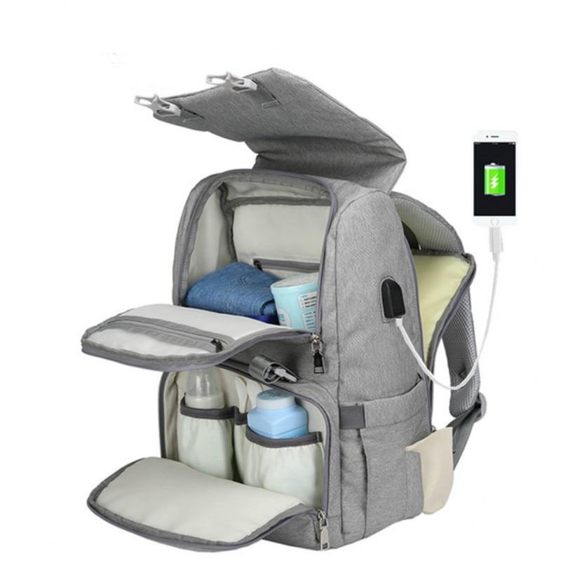 2 en 1 bolsa de pañales de maternidad USB bolsa de pañales de bebé pañal cambiando Pad de viaje mochila momia de bolso Bebes pañal B