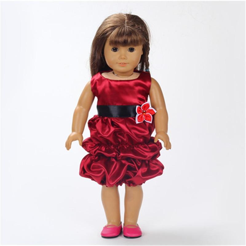 18 polegadas Vinho Tinto vestido sem mangas da Roupa da Boneca Acessórios Artesanais vestido de Noite