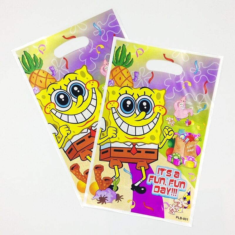 10 Uds tema esponja Bob bolsa con Patricio Estrella regalo niña niños Favor suministros de fiesta de cumpleaños niño botín regalos bolsas de almacenamiento de plástico