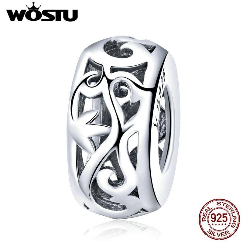 WOSTU Top Verkauf Echt 925 Sterling Silber Gras Muster Spacer Charme fit Perle Armband S925 Silber DIY Schmuck Machen Geschenk CQC716