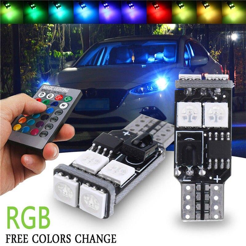 360 grad RGB Niedrigen Verbrauch Langlebig LED 2 Pcs T10 6-SMD 5050 120LM Auto Fernbedienung Keil Seite Licht Lesen lampe #258835