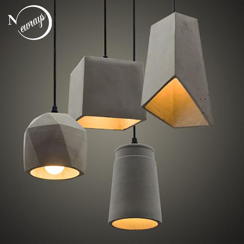 Lámpara colgante de cemento Vintage de 5 estilos, luz LED E27 de 220v con interruptor, accesorio de iluminación para sala de estar, dormitorio, restaurante
