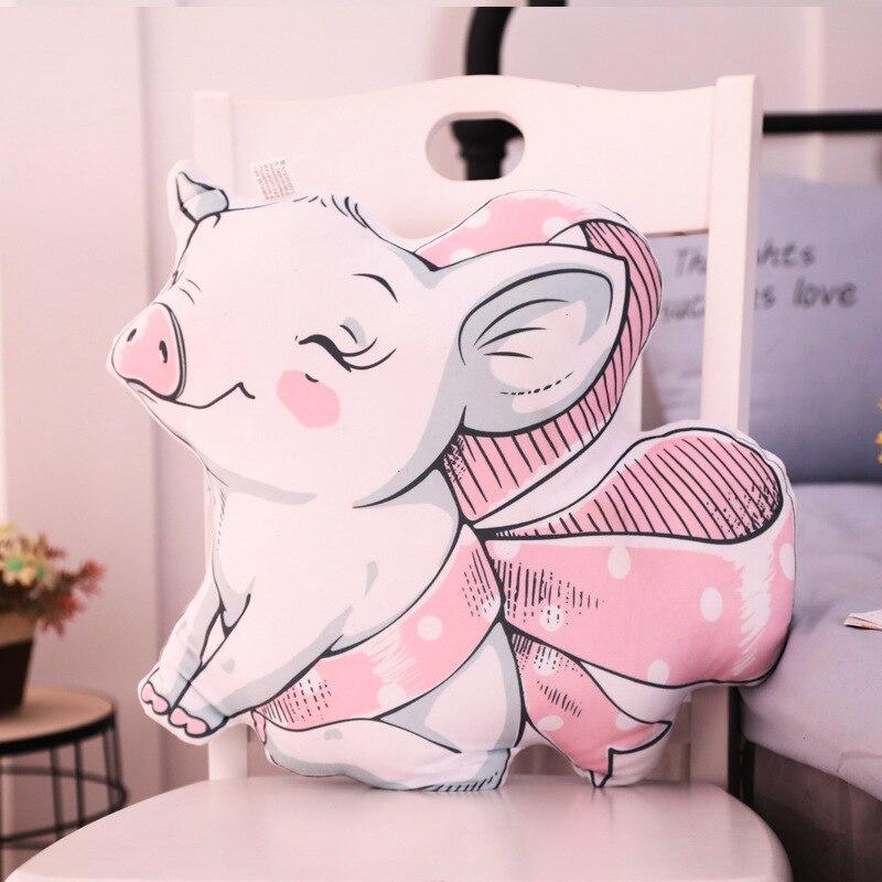 Cojín con diseño de cerdo en forma de corazón para chica de viento nórdico, cojín para sofá, cojín para coche, cama de salón, decoración de oficina, almohada para bebé, juguete de regalo para chico