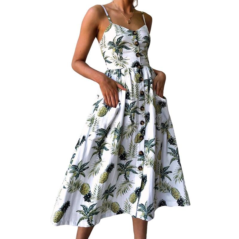 Vestido de playa de verano Floral con espalda al aire y cuello en V sexi para mujer, vestidos Midi de fiesta de piña con botones a rayas de estilo bohemio