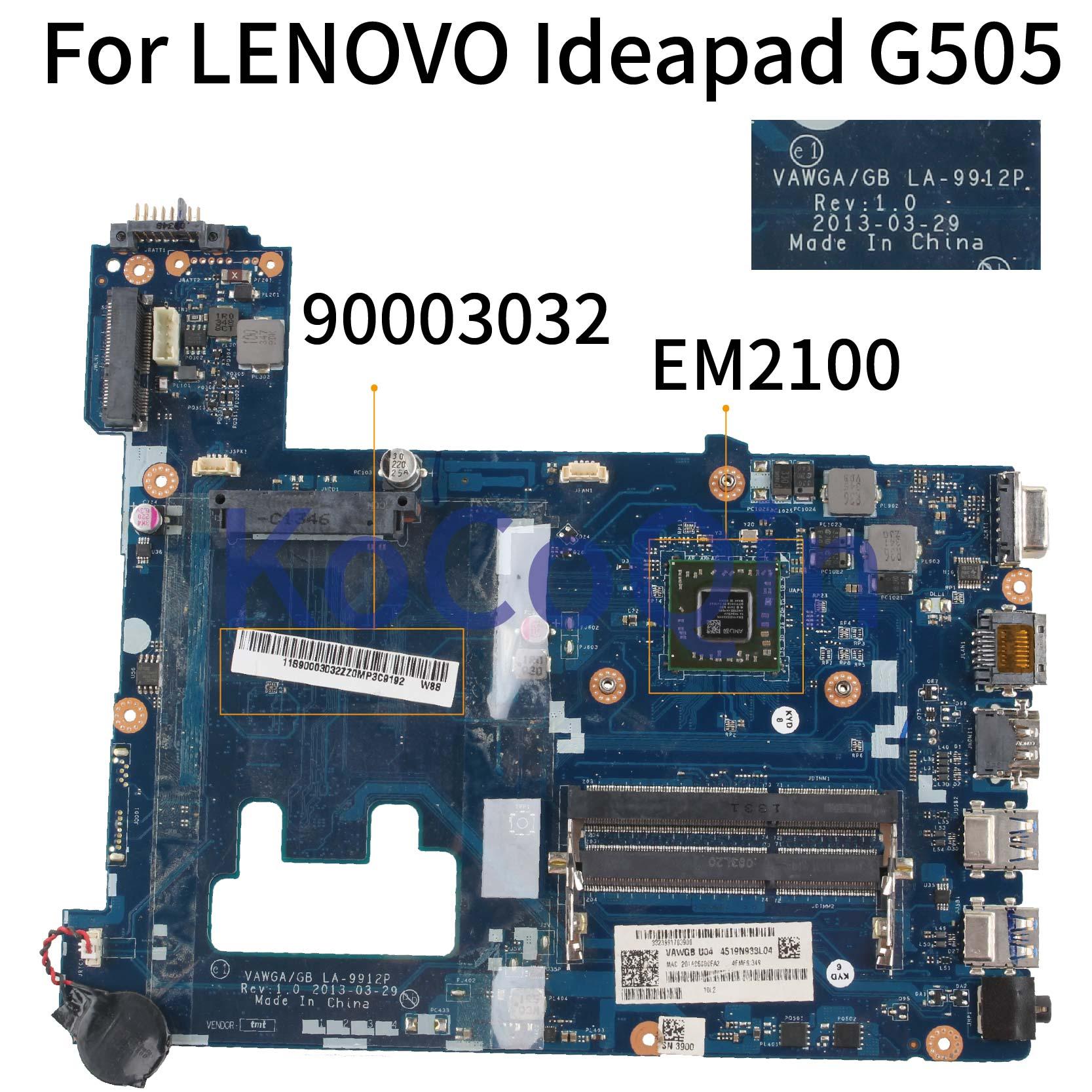 VAWGA/GB LA-9912P لينوفو Ideapad G505 EM2100 15 بوصة الكمبيوتر المحمول اللوحة الرئيسية VAWGA/GB LA-9912P اللوحة الأم 90003032