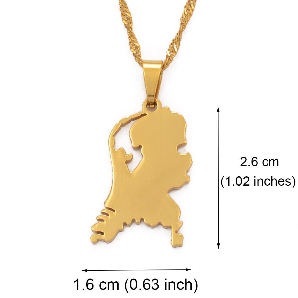 Anniyo Nederlanden Mapa de acero inoxidable colgante collares para mujeres niñas Color oro holandés joyería Países Bajos mapas regalo #110021