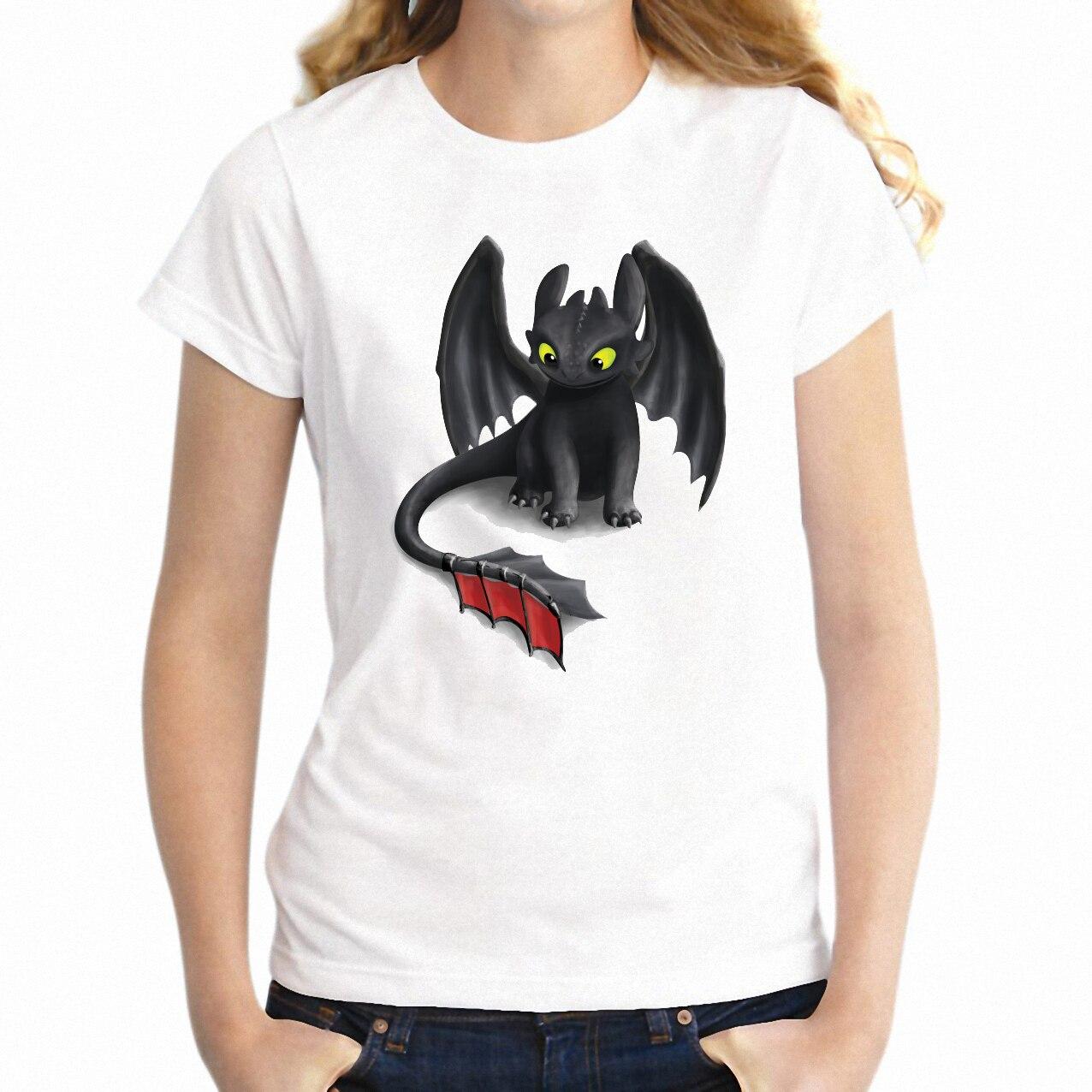 Nueva camiseta para mujer, camiseta de manga corta sin dientes con dragón de furia nocturna, camiseta Harajuku Streetwear, tops