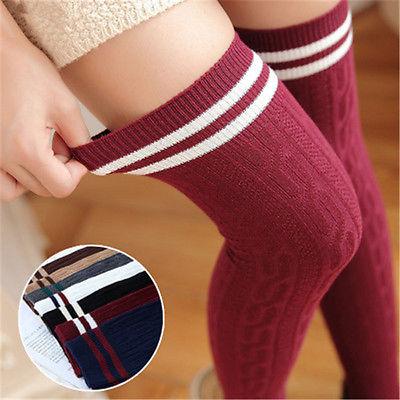 Nouvelles femmes sur le genou bas chaud blanc noir rayure Long coton bas pour fille genou haut cuisse tricoté bas
