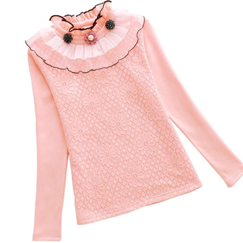 Autumn Winter Kids Clothes Girls Flower Blouse Shirt Warm Turtleneck Cotton Tops Tee Children Lace 2-13Yrs Girl School Clothing