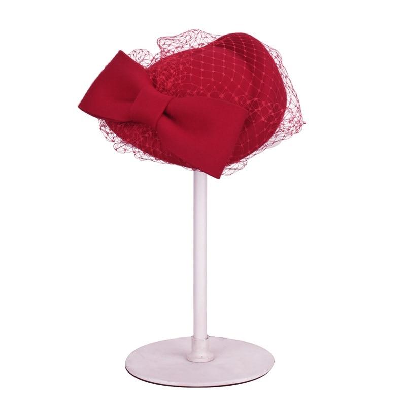 Lady Fashion Fedoras Hat Veil Women Vintage Wool Beret Cap Female British Party Hats Bride Headdress Promotion B-4327