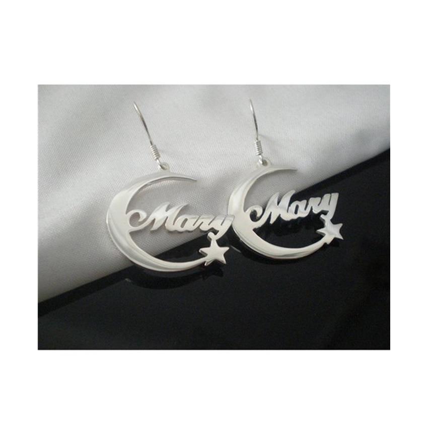 Personalized custom moon necklace Glamour Islamic silver star earrings Stainless steel letter custom woman jewelry Best friend g худи g star g star gs001ewfzmd1
