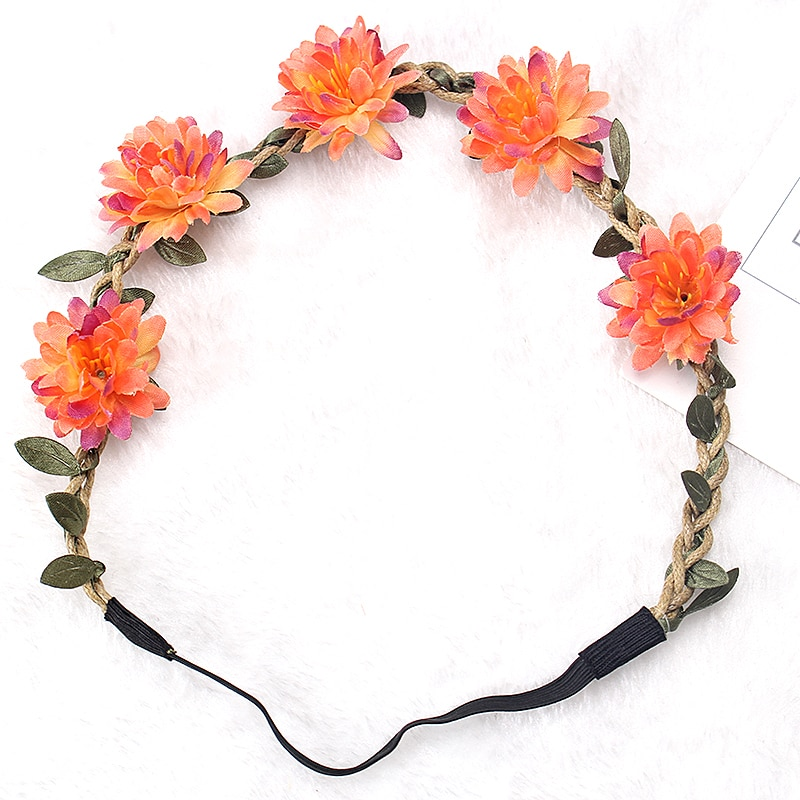 M MISM, corona De flores De tela Boho, diadema elástica, guirnalda De flores para boda, guirnalda para dama De honor, corona bohemia De princesa, flor