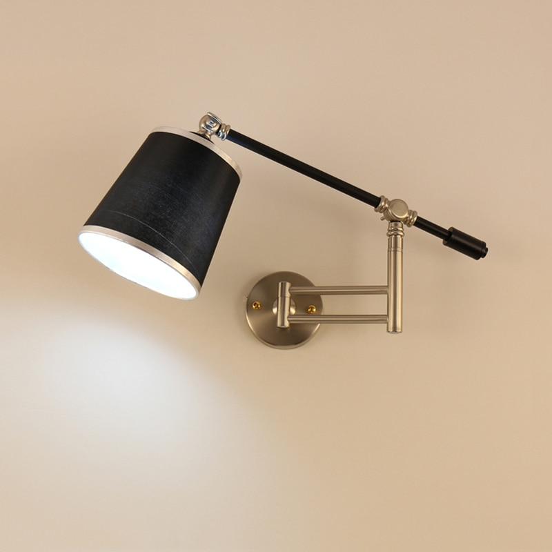 Nordic creative folding wall lamp long arm adjustable light bedroom bedside office study living room mirror light wall sconce