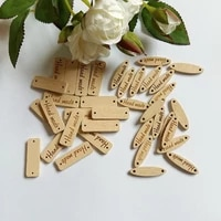 50pcslot sewing accessories hand made tag brand wood label wooden buttons for sewing diy decorative craft scrapbooking