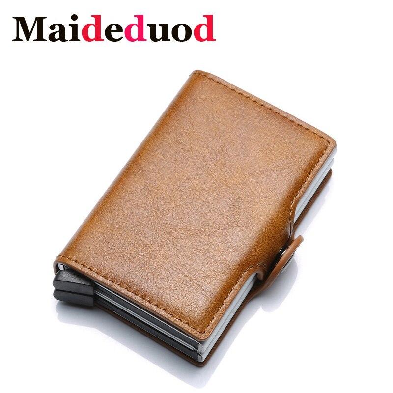 Maideduod New Metal Card Holder RFID Blocking Leather Business ID Credit Card holder  Men Thin  Aluminium Case Wallet Mini Purse