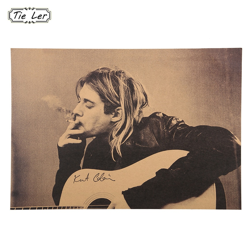 1 Pcs Home Decor Wall Sticker Cobain Nirvana Frontman Kraft Retro Rock Posters Nostalgia Bar Posters
