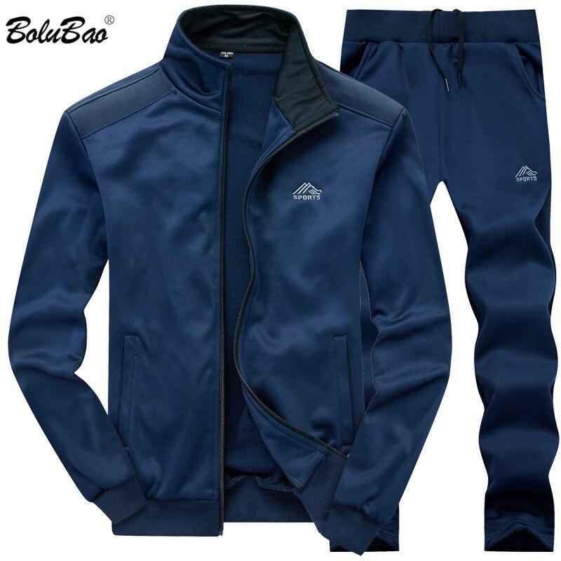 Bolubao marca masculino agasalho novo verão outono moletom + calças define casual masculino ternos esportivos