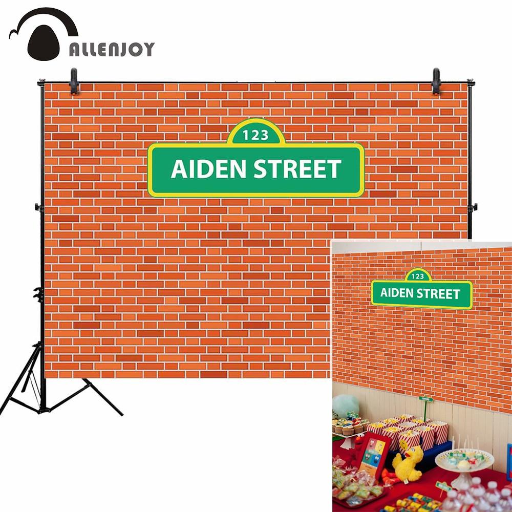 Fondo fotográfico Allenjoy aiden street pared de ladrillo sésamo dibujos animados childern celebración marco telón de fondo retrato puerta
