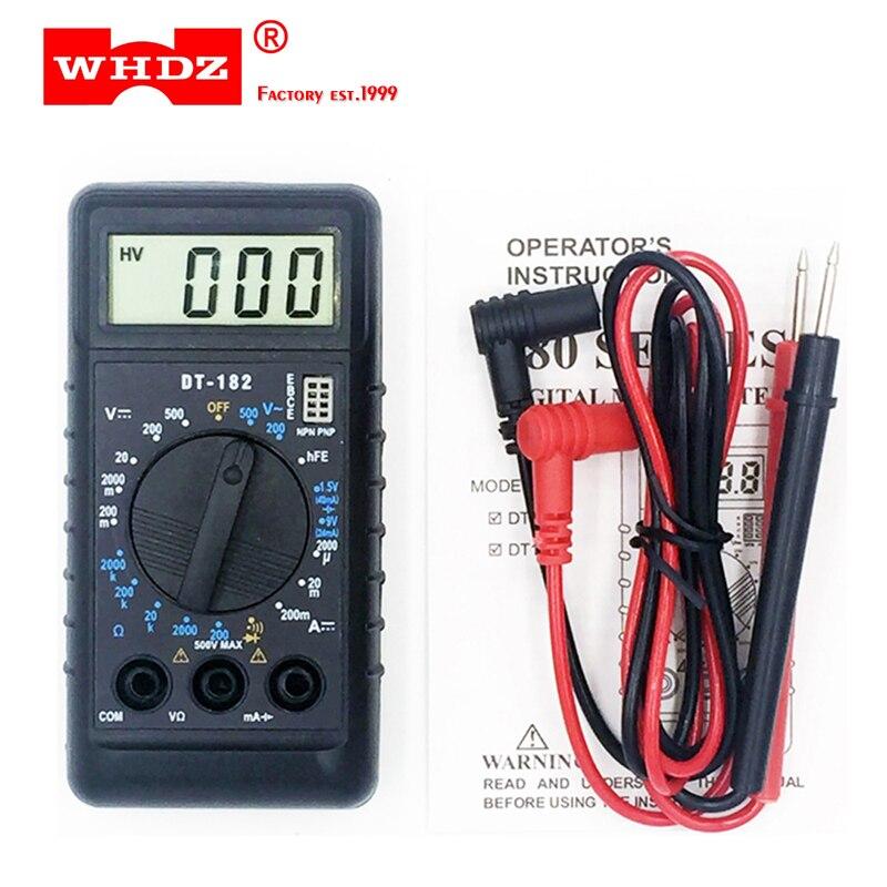 WHDZ DT182 Экстра Мини цифровой мультиметр с зуммером защита от перегрузки Карманный вольтметр Ампер Ом измерительный зонд DC AC LCD