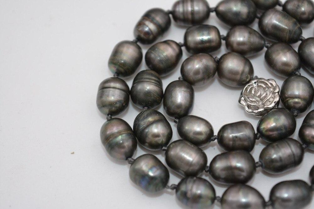 """Nuevo collar de perlas gris negro arroz tahitiano 9-10 MM NATURAL 18 """"envío gratis"""