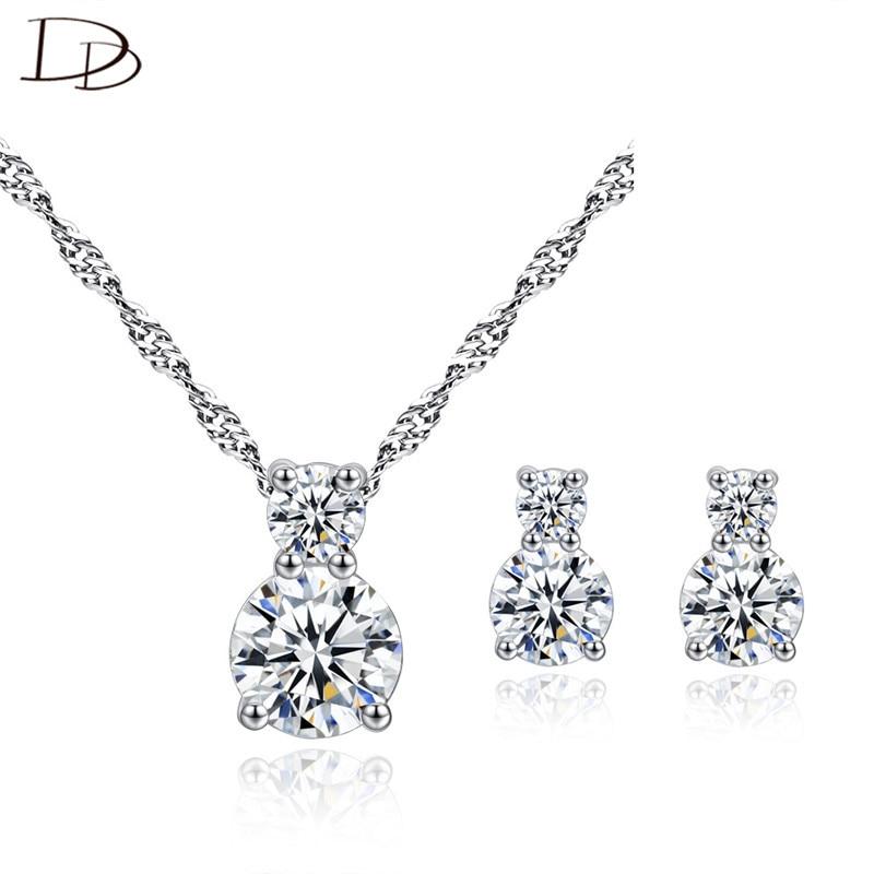 DODO 2 redondos de circón AAA calabaza elegante juegos de joyas para mujer boda compromiso collar y pendientes de tuerca bisutería de moda N171E196