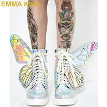 Mode Laser ailes papillon bottines pour femmes bout rond à lacets plat Punk bottes printemps automne Designer chaussures femme 35-41