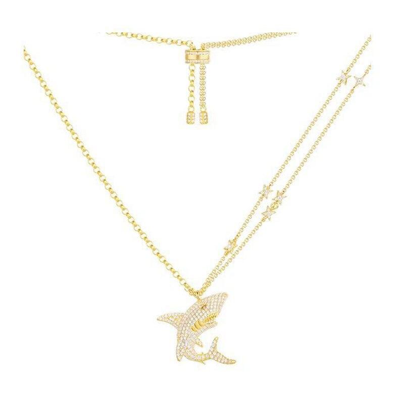 100% Plata de Ley 925 auténtica Color dorado tiburón colgante collar incrustado Zirconia cúbica CZ estrella cadena mujeres Egipto joyería fina