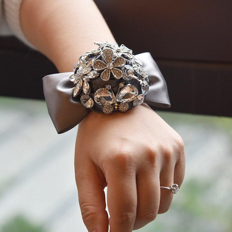 5pcs/lot  Nobl luxurious Rhinestone Wedding Wrist Flowers Bridesmaid Slik Hand Flower Flowers For Wedding Deration 4 colors