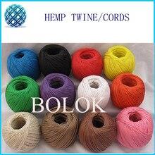 free shipping 500pcs/lot 12 color hemp cord100m/ball,waxed hemp twine, fabric hemp 100%