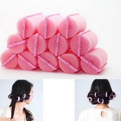 Nuevo Rizador profesional de 12 Uds., herramienta de peluquería, esponja suave DIY para peinado de cabello, rodillos de espuma para el cabello, herramienta de estilismo de Color rosa