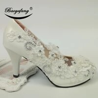 baoyafang 2019 new arrival women wedding shoes bride white lace party dress shoes lace pearl bridesmaid round toe patent leather