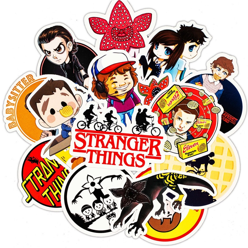 Pack de 30 Uds de calcomanías de figuras de Stranger Thing, pegatina de juguete de Anime para equipaje, monopatín, motocicleta, portátil, pegatina impermeable