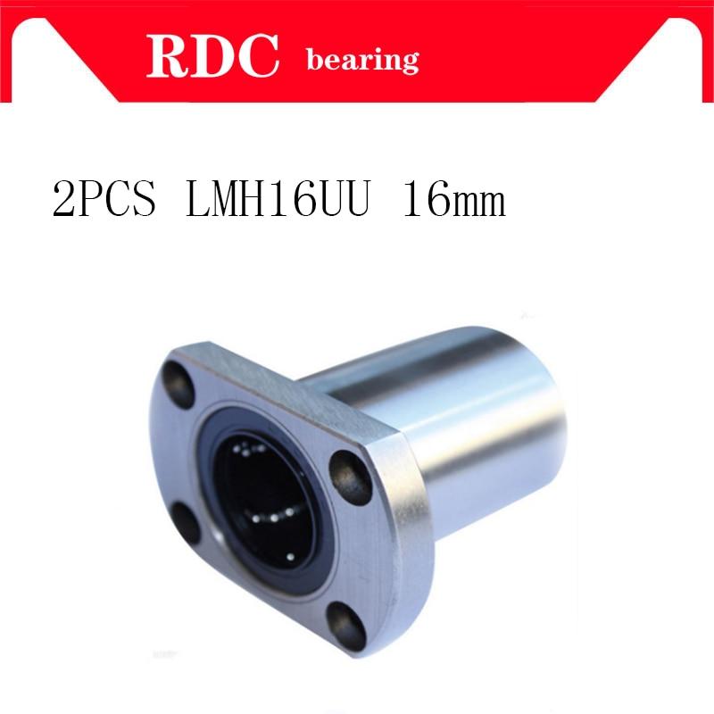 Free shipping 2pcs LMH16UU 16mm flange linear ball bearing bushing for linear guide rail rod round shaft cnc part 3d printer