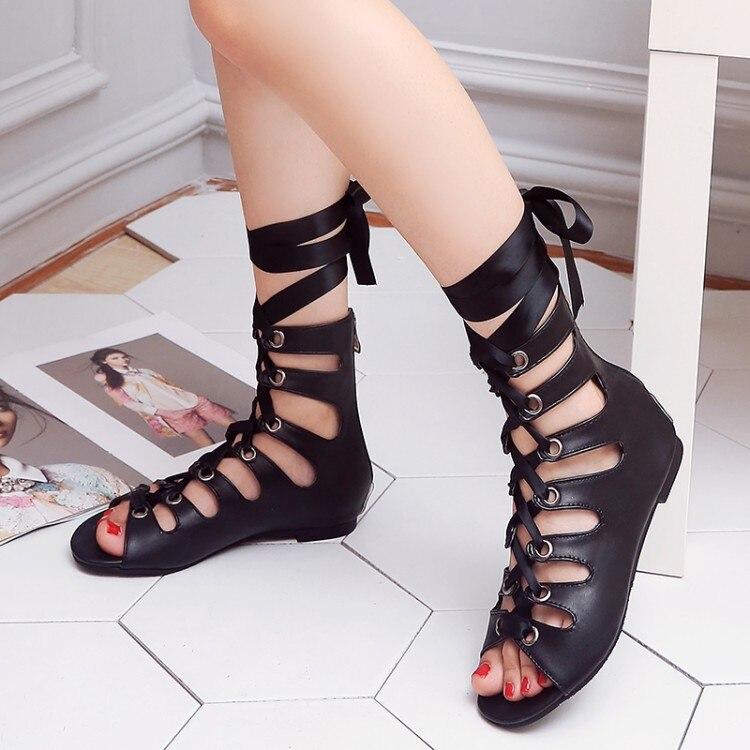 Big Size 11 12 13 14 15 16 17 18 19 high heels sandals women shoes woman summer ladies Roman Cross Lace Lace Back Zipper Sandals