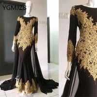 elegant gold embroidery black evening dresses 2019 mermaid long sleeves beaded appliques lace women formal prom gown party dress