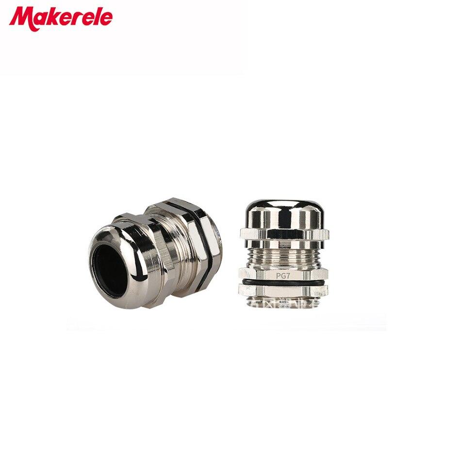 10 шт./лот PG7 никелевые латунные Металлические Водонепроницаемые кабельные сальники соединения IP68 Кабельный разъем для кабеля 3-6,5 мм