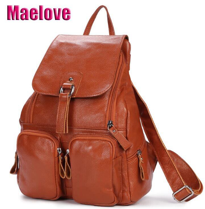 Maelove Nova Chegada Couro Do couro do saco Das Mulheres bolsa De Couro Genuíno Mochila saco de Escola do Estudante bolsa de ombro mochila