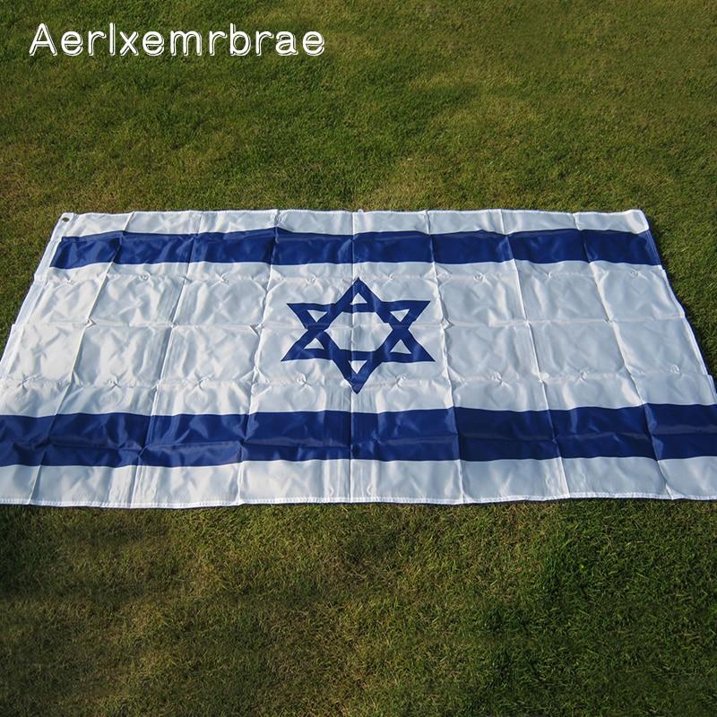 Free shipping!  aerlxemrbrae flag israel 3*5 feet. polyester flag.90*150cm big banners.. Isreal banner