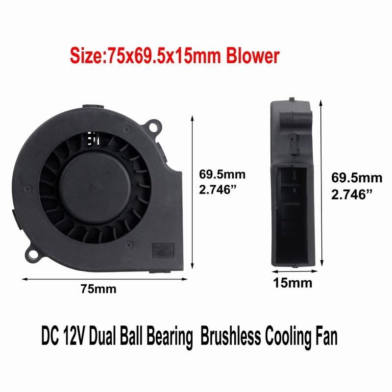 20 قطعة Gdstime اثنين الكرة منفاخ مروحة 75 مللي متر x 15 مللي متر 7515 DC 12 V 2 دبوس فرش توربو الطرد المركزي تبريد مروحة 12 فولت PC برودة