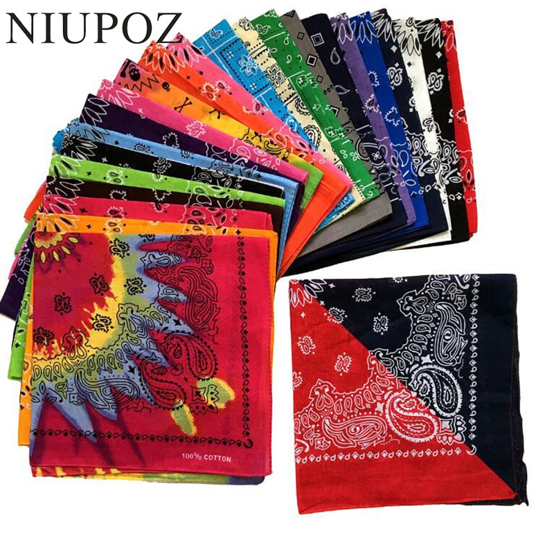 2020 New Fashion Hip Hop 100% Cotton Bandana Square Scarf 55cm*55cm Black Red Paisley Headband Printed For Women/Men/Boys/Girls