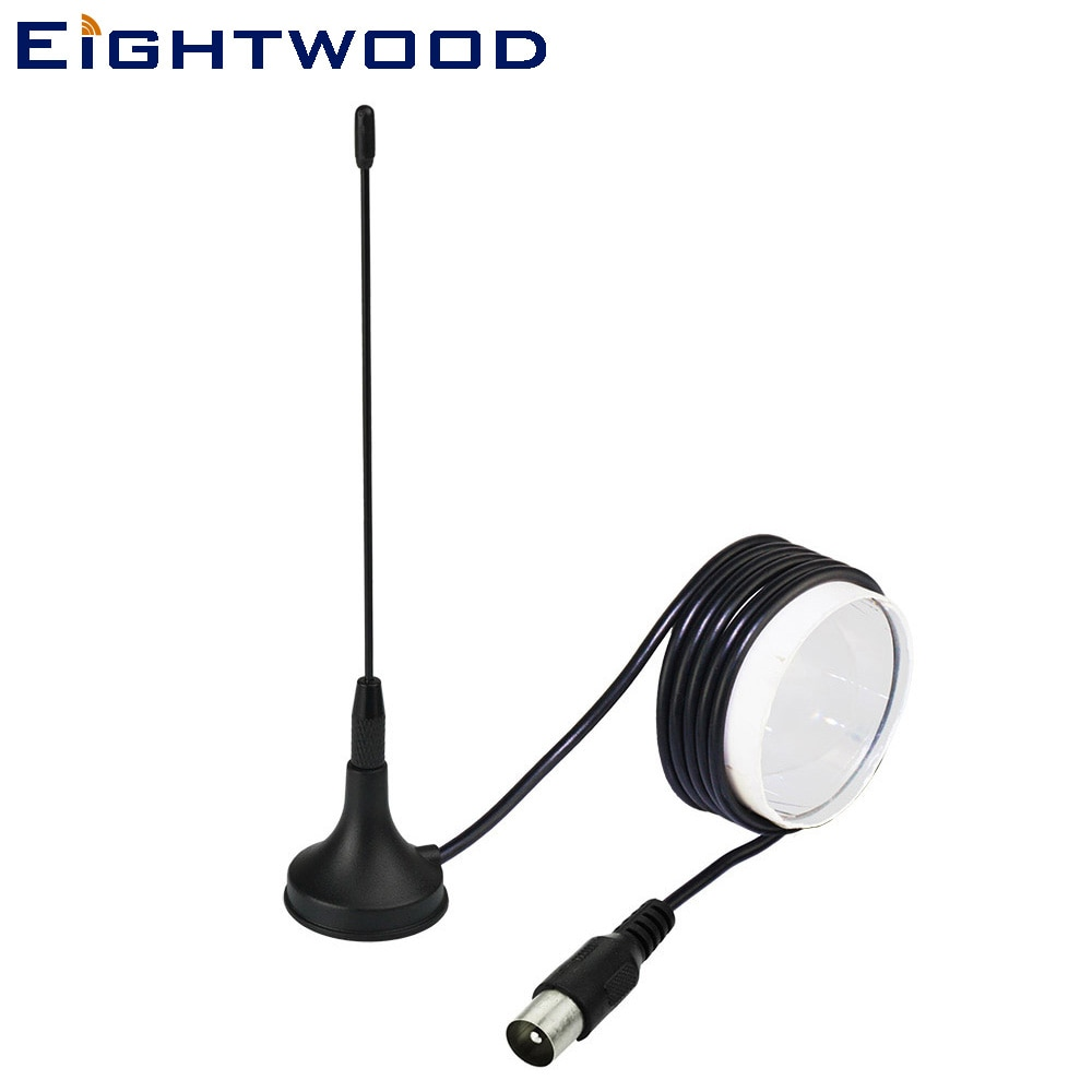Eightwood 174-230MHz 470-862MHz Antenna Magnetic Mount 5dBi TV Male 300cm Aerial for Digital Freeview DVB-T T2 TV Box Booster