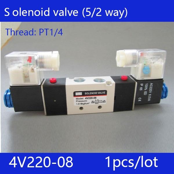Free shipping 1pcs good qualty 5 port 2 position Solenoid Valve 4V220-08,have DC24v,DC12V,AC24V,AC36V,AC110V,AC220V,AC380V