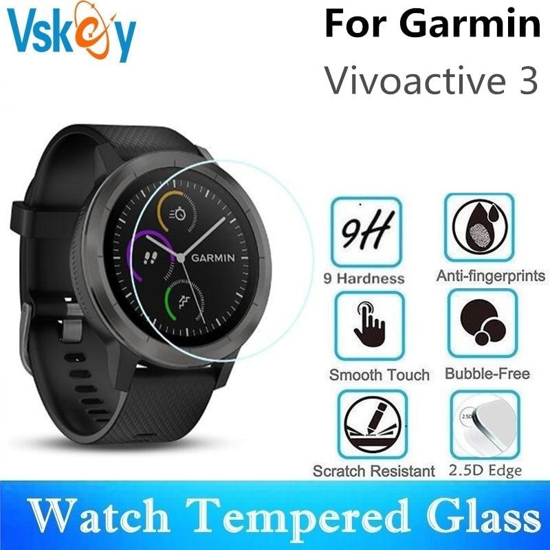 VSKEY 100PCS Tempered Glass for Garmin Vivoactive 3 Screen Protector Diameter 36mm Sport Smart Watch Protective Film
