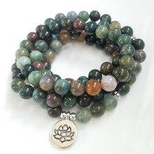 Onyx indien naturel 108 mala bracelet/collier unisexe yoga bracelet