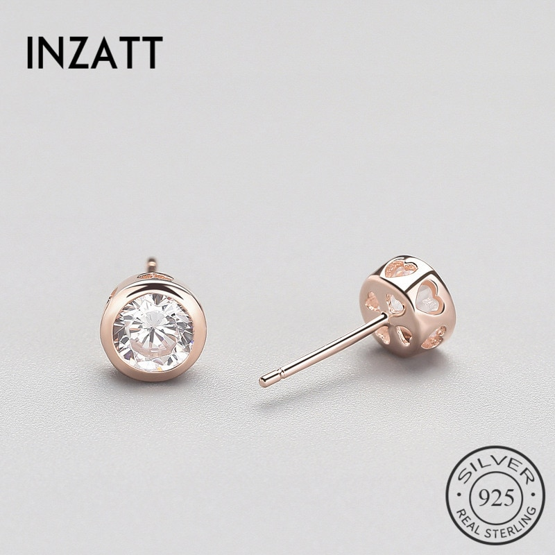 INZATT 925 Sterling Silver Zircon Heart Stud Earrings Rose Gold Colour Crystal Jewelry Accessory For Women Wedding Party Gifts