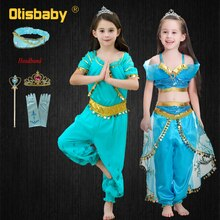 2019 Halloween Party Kids Princess Jasmine Cosplay Costume Arabian Girl Jasmine Costume Hair Holiday Toddler Christmas Dress Up