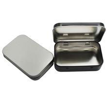 Survival Kit Tin Small Empty Metal Tin Silver Black Flip Storage Box Case Organizer For Money Coin Candy Key