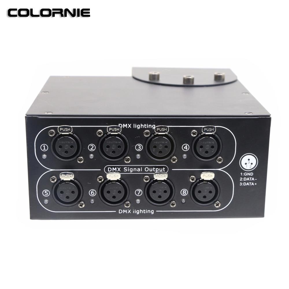 AC100-240V 8CH DMX divisor 8ch DMX repetidor de señal LED luz con cabezal móvil para escenario DMX512 distribuidor de señal